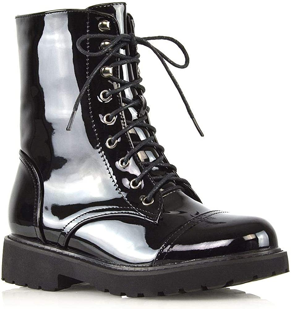 Essex Glam Womens Lace Up Ankle Boots Chunky Wi Ladies National uniform free Max 88% OFF shipping Grip Sole