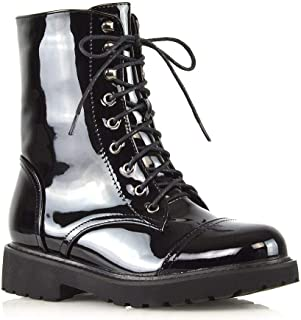 Details about  /Women Smart Patent Leather Block Heel Pointy Toe Lace Ups Ankle Boots 41 42 43 D