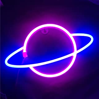 Ninboca Blue Planet Neon Signs Kids Room Decor Pink Neon Signs Led Neon Sign Plug in Wall Light Battery USB Powered Party ...