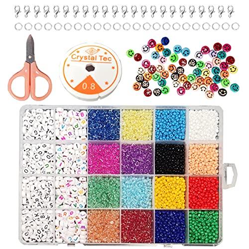 Happyhours Perlas de cristal de 3 mm, perlas de letras y 10 mm, perlas de mica multicolor y cinta de goma para pulseras, cuentas redondas con letras para enhebrar, joyas, manualidades