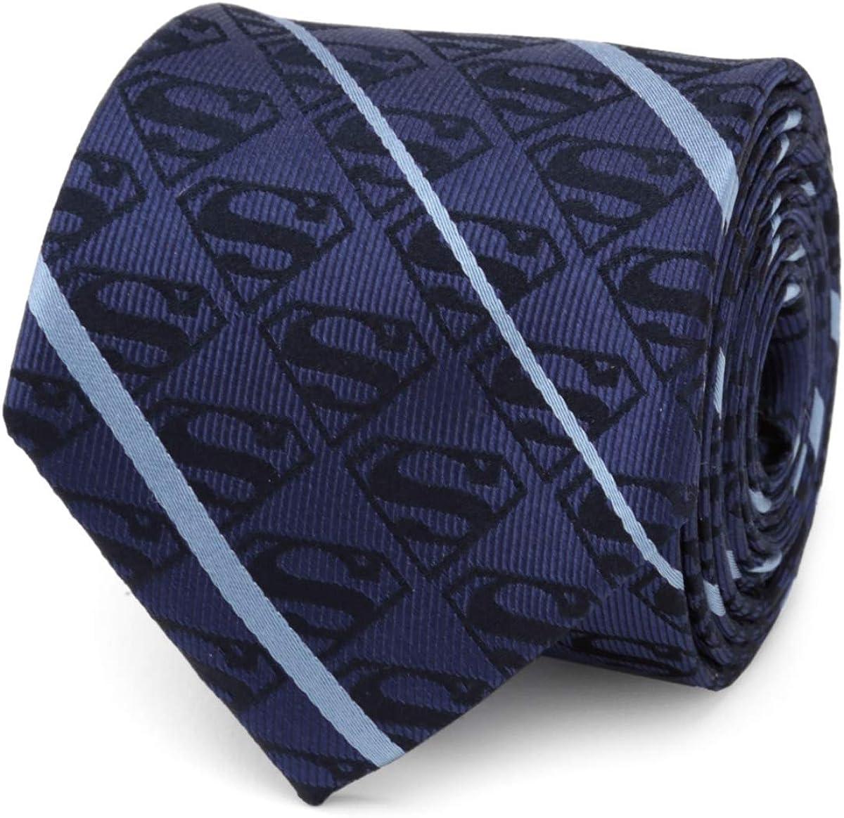 Superman Stripe Pattern Finally popular brand Blue Tie Men's Popular Silk