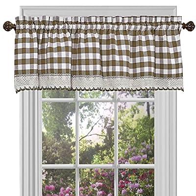 "Woven Trends Farmhouse Curtains Kitchen Décor, Buffalo Plaid Valance, Classic Country Plaid Gingham Checkered Design, Farmhouse Décor, Window Curtain Treatments (Taupe, 58"" W x 14"" H Valance)"
