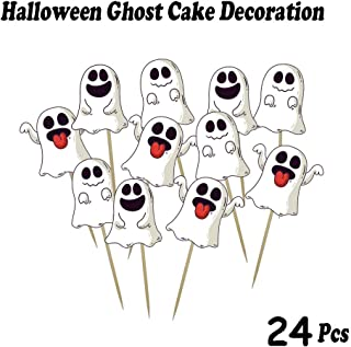 Halloween Cake Topper Cupcake Toppers One Sided Toppers Lovely Ghost Design with Toothpicks for Halloween Party Supplies, Halloween Food Picks Decor, Baby Shower Parties Decorations(24 PCS)