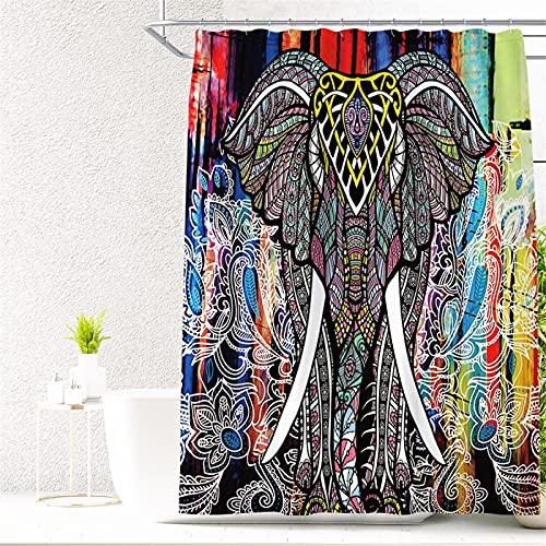 SUUZQK Serie De Patrones De Elefante Cortina De Ducha Impresión Digital Impermeable Y A Prueba De Humedad Poliéster Plomería Cortina De Ducha Cortina De Partición 180x180cm(WxH) F