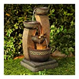 "John Timberland Outdoor Floor Water Fountain Four Bowl Cascading Waterfall 41"" Tall for Yard Garden Lawn"