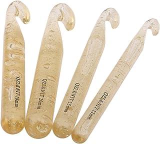 ZALING Lot de 4 grandes aiguilles à tricoter en plastique transparent - 12 mm/15 mm/18 mm/20 mm