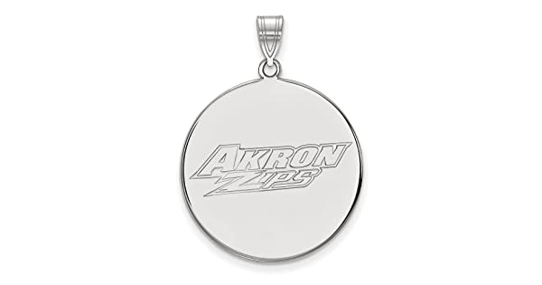 925 Sterling Silver Rhodium-plated Laser-cut Univeristy of Akron Large Disc Pendant