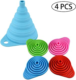 Collapsible Silicone Funnel Set of 4, Foldable Kitchen Funnel for Liquid/Powder Transfer Food Grade FDA Approved