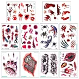 10 Sheets Halloween Temporary Tattoos for Kids Adults Face Body Art Decoration Fake Bloody Wound Scar Designs Temp Tattoo Stickers for Cosplay Costume Party