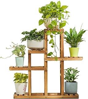 6 espositori per porta vasi da fiori scaffale per ripiani portaoggetti per scaffalature per esterni da giardino Patio Balcon LULUDP Cremagliere Pianta Scaffale per stand per piante in legno massello