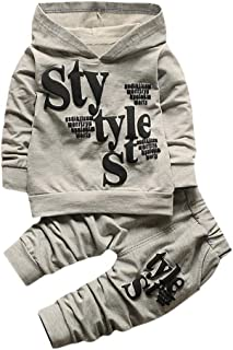 b50ad970f5b Toddler Infant Baby Boys Style Letter Print Long Sleeve Hoodie Tops  Sweatsuit Pants 2PCS Outfit Set