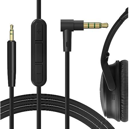 Geekria QuickFit Audio ケーブル 互換性 オーディオコード Bose QuietComfort QC35, QC35 II, QuietComfort QC25, SoundTrue ヘッドホンケーブル、2.5mm AUX に適合する インラインマイクと音量コントロール 170 cm