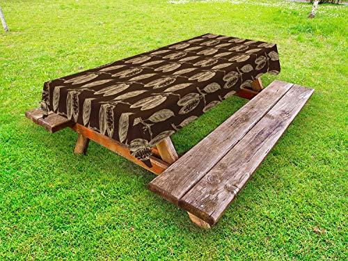 ABAKUHAUS Cacao Tafelkleed voor Buitengebruik, Plant Takken Vintage Style, Decoratief Wasbaar Tafelkleed voor Picknicktafel, 58 x 84 cm, Beige en Brown