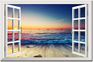 Modern Canvas Print Wall Art Poster Window Frame Style Wall Decor Painting Natural Landscape Wall Picture for Bedroom Home...