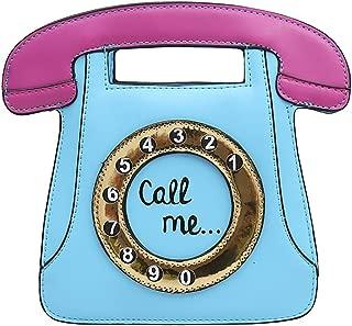 Telephone Shaped Women Retro Cross Body Bag PU Leather Clutch Purse Chain Bag