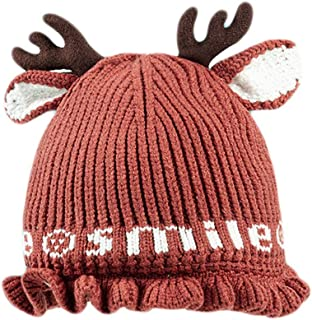 Cute Reindeer Antlers Baby Hat Soft Warm Knitted Hat For Toddler Girls Boys Keep warm (Color : Caramel, Size : 2-11 months)