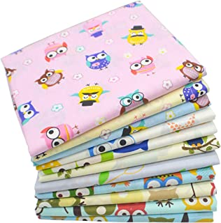 iNee Cute Owl Fat Quarters Fabric Bundle, Sewing Quilting Fabric, 18x22 inches,(Owl)