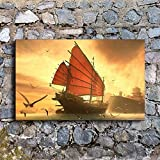 NIMCG Office Wall Art Fantasy Sailing Art Ocean Painting Sunset Boat Seagull Poster Decoración del hogar (Sin Marco) 30x45CM