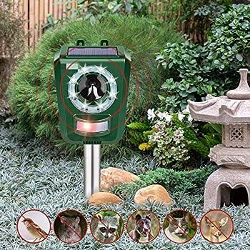 Intey Répulsif à ultrasons pour chat et chien Étanche Extérieur Chat, Renard et Chien - Dissuasif pour jardin, cour et ferme avec 2 haut-parleurs
