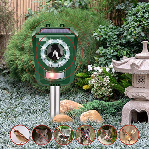 INTEY Outdoor Animal Repellent Solar Ultrasonic Cat Repeller with LED Flashlight Animal Driven Device Dog Repellent Waterproof IP44 Design