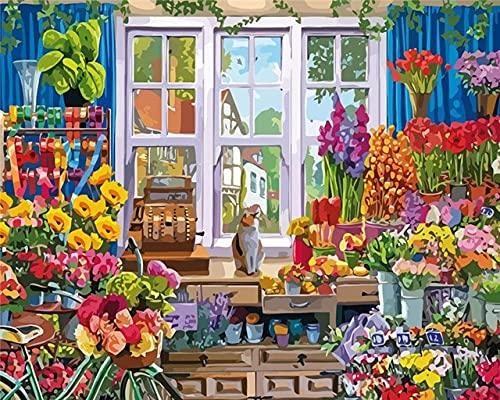 Malowanie według liczb_Kot i kwiat_obraz na płótnie dla dorosłych i dzieci, szczotkami i farbami akrylowymi_prezent_40x50cm_Polen