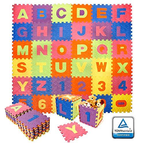 CCLIFE 186x186cm 36er Puzzlematte Eva Alphabet TÜV schadstofffrei wasserdicht Spielmatte Schaumstoffmatte Kinderteppich Spielteppich