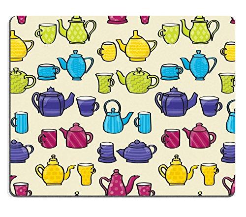 MSD Mousepad Bild-ID 19856643Set von Cartoon Stil gemustert Teekannen und passende Tassen nahtloser Hintergrund Fliesen Bitte beachten Sie diese Datei ist EPS10und verwendet Folien