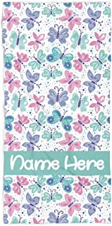 Personalized Butterfly Towel for Kids - Custom Travel Beach Pool and Bath Towels for Adults Toddler Baby Boys Girls (Bath Towel 30