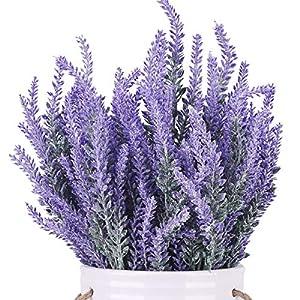 Silk Flower Arrangements BOMAROLAN Artificial Lavender Plant Fake Flowers Wedding Bouquet Home Kitchen Office Table Centerpieces Arrangements Decor 6pcs (Purple)