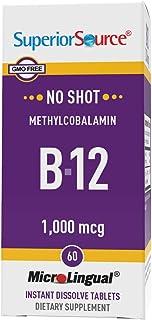 Superior Source No Shot Vitamin B12 Methylcobalamin 1000 mcg, Quick Dissolve Sublingual Tablets, 60 Count, Active Form of ...