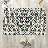 Alfombrilla de baño antideslizante, para baño o ducha,Motivo morisco tradicional marroquí con efectos árabes étnicos, alfombra de suelo absorbente, para sala de estar, sofá, cojín, caucho, 60 x 100 cm
