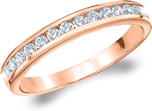 1/4 CT Classic Channel-Set Cultured Diamond Ring in 10K Gold, Sparkling in F-G Color and VS Clarity