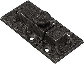 Late Victorian Cast-Iron Decorative Cabinet Slide Latch in Antique Iron