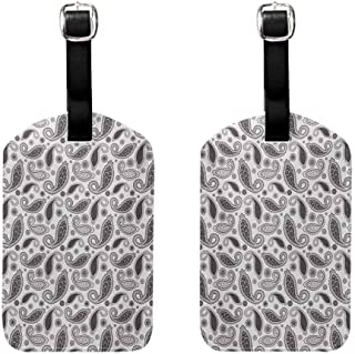 Business Card Holder Paisley,Minimalist Oriental Florets Leaves Dark Colors Iranian Culture Featured Image,Grey and White Baggage Suitcase 1 Piece
