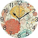 Zseeda Reloj de Pared Redondo de diseño Floral Retro, Pintura al óleo silenciosa sin tictac Decorativa para Arte de Reloj...