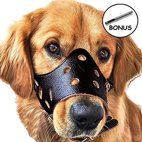 JUNMO® chien en cuir Muselière anti-aboiement pour les grands chiens de petite taille moyenne (Noir, S)