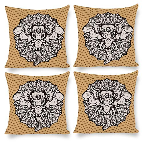No branded Throw Pillow Covers 18X18 Set of 4 Home Decor Elephant Sketch White Beige, Decorative Square Pillow Cushion Pillowcase for Home Living Room Bed Sofa Car Nursery Patio Yard Decal