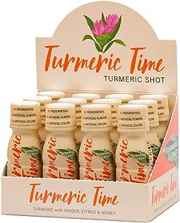 Turmeric Time Turmeric Shots - Turmeric with Ginger, Citrus & Honey | Non-GMO | No Preservatives or Artificial Flavors/Colors/Sweeteners | B Vitamins | Liquid Turmeric (12 Pack)