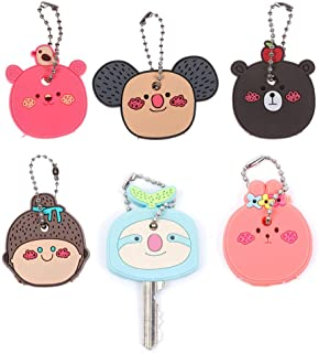 RAYNAG Cute Keys Top Cover Caps Animal Key Identifier Tag Covers 6 Pieces Rubber House Key Caps with Ball Chain