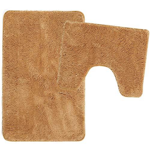 Poligono Juego de alfombrillas de baño de 2 piezas de microfibra, alfombra de 50 x 80 cm, alfombrilla para WC Water Forma rectangular 40 x 50 cm, antideslizante, lavable a máquina, beige