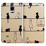 Bfun Packing Bcov Black Cat White Cat Leather Wallet Cover Case for Samsung Galaxy Note 4