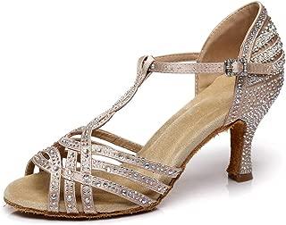 YKXLM Women's Professional Rhinestone Ballroom Wedding Dance Shoes Latin Salsa Performance Practice Dance Shoes,Model AUYCL383