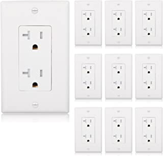 Maxxima Tamper Resistant Duplex Receptacle Standard Decorative Electrical Wall Outlet 20A White, 20 Amp, Wall Plates Included (Pack of 10)