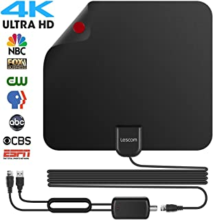Lesoom 2018 Newest Best 80 Miles Long Range TV Antenna Freeview Local Channels Indoor Basic HDTV Digital Antenna for 4K VHF UHF with Detachable Ampliflier Signal Booster Strongest Reception
