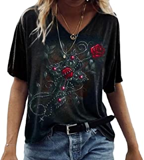 Keepmore T-Shirt da Donna con Stampa Teschio Rosa Divertente T-Shirt con Stampa Carina con Scollo a V a Maniche Corte Top
