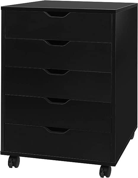 DEVAISE 5 Drawer Chest Wood Storage Dresser Cabinet With Wheels Black