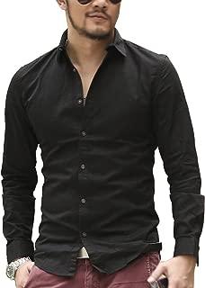 [ミックスリミテッド] シャツ メンズ 長袖シャツ ワイシャツ ドレスシャツ カラーシャツ ロング丈 タイト
