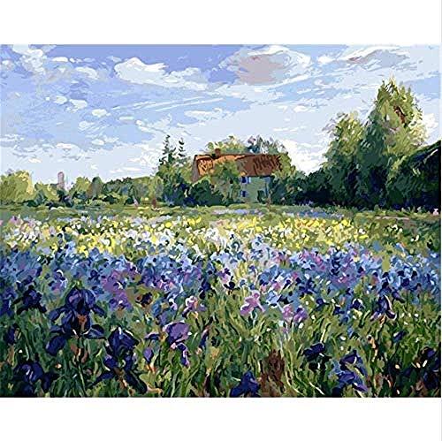 N/D DIY Digitales Malen Nach Zahlen Paket Lavendelfeld Ölgemälde Wandgemälde Malvorlagen Wandkunst Bild Geschenk 40X50Cm Rahmenlos