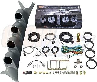 GlowShift Diesel Gauge Package for 1999-2007 Ford Super Duty F-250 F-350 Power Stroke - White 7 Color 60 PSI Boost, 1500 F EGT, Transmission Temp & 100 PSI Fuel Pressure Gauges - Gray Quad Pillar Pod