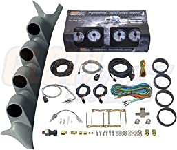GlowShift Diesel Gauge Package for 1999-2007 Ford Super Duty F-250 F-350 Power Stroke - White 7 Color 60 PSI Boost, 1500 F EGT, Transmission Temp & 100 PSI Fuel Pressure Gauges - Gray Quad Pillar Pod
